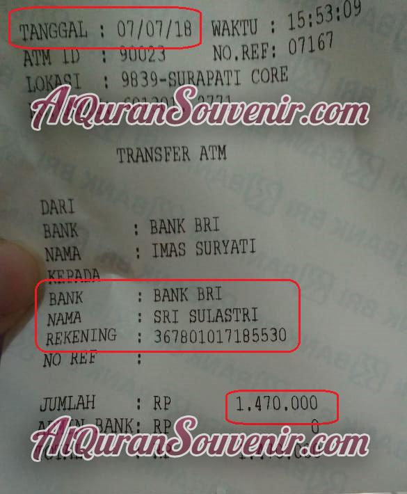 Bukti Transfer pembelian AlQuran Al-Quran Al-Hamid Perkata dan Al-Majid A4 Souvenir 1000 Hari Meninggal