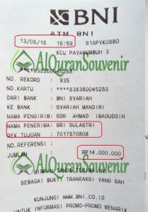 Bukti Transfer DP Pemesanan Al-Quran Customize A6 400 pcs Yayasan SDIT ASh-SHIDDIIQI